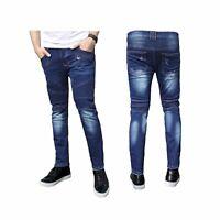 Mens Super Skinny Stretch Ripped Biker Distress Blue Denim Jeans All Waist Sizes