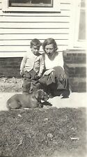 Original 1930s-40s Large Real Photo- Animal- Dog- Mother- Son- Youth- Schnauzer