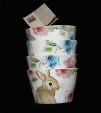 """4 222 Fifth Colorful Watercolor Spring Floral BASTIA BUNNY 4-1/2"""" Bowls NWT DISC"""