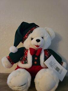"VTG 1994 Walmart CHRISTMAS Snowflake TEDDY BEAR White Boy 22"" Red/green Outfit"