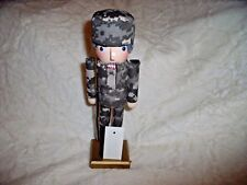 """NEW ARMY SOLIDER  NUTCRACKER 10"""" Tall  Wooden Helmet & Rifle CAMOUFLAGE Military"""
