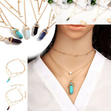 Women Multi-layer Chain Moon Heart Choker Necklace Natural Gemstone Pendant