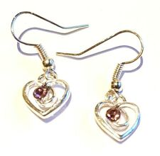 Hand Made Silver Colour Heart With Dusky Pink Faceted Stone Earrings HCE437
