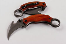 Wood Handle Karambit Sharp Knife Liner Lock Saber Pocket Folding Potable Tool