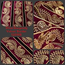 9 Yards Burgundy Velvet Gold Sequin Saree Embroidery Border Sewon Bridal Trim