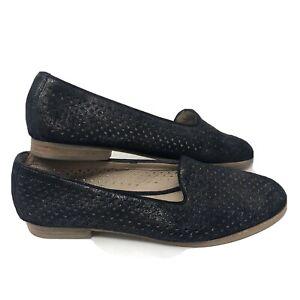 Johnston & Murphy Women's Size 8.5 Sloane Perforated Slipper Flat in Black