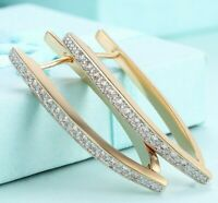 18K Gold Plated Micro Pave Clear CZ Inside Out Earrings