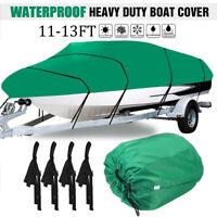 Heavy Duty Boat Cover Waterproof 210D 11-13FT Speedboat V-Hull Fish Ski Marine