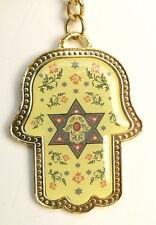 Golden HAMSA Hand Keychain Star of David w/Jewish Hebrew Traveler Prayer Charm