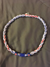 """CHICAGO CUBS Double Rope Team Titanium White Necklace 22"""" FAST! NEW!"""