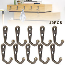 40Pcs Vintage Rustic Bronze Wall Coat Hooks Hat Hook Rack Hall Tree Restoration