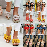 Womens Summer Flat Sandals Casual Flip Flops Slippers Holiday Bow Knotted Shoes