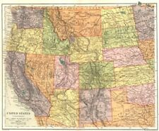 USA. United States (Western) . Stanford 1892 old antique map plan chart
