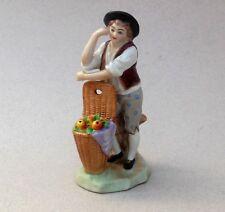 Vintage Sitzendorf Porcelain Figure ~ Fruit Seller Boy & Basket ~ 12.5 cm high