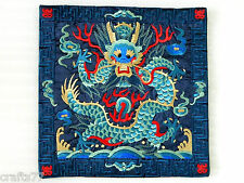 "17"" Square Dark Blue Embroidery Cushion Cover Pillow Case,Dragon Pattern"