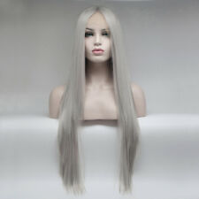 Cosplay 24 Inches Long Gray Straight Synthetic Hair Lace Front  Wig Free Parting