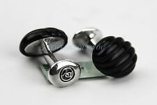 David Yurman Sculpted Cable Black Onyx Cufflinks Sterling Silver # 137