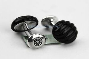 DAVID YURMAN SCULPTED CABLE BLACK ONYX CUFFLINKS STERLING SILVER # 137 NEW