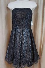 Mattox Dress Sz 12 Black Silver Evening Cocktail Strapless Short Lace Dress