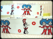 "Cat in the Hat  RIBBON. 1"" Grosgrain. Dr Seuss. Scrapbooking / Bows. Thing 1 & 2"