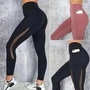 Women's High Waist Mesh Yoga Pants Push Up Leggings Gym Sports Fitness Trousers