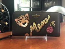 NWT Kate Spade New York Leopard Run Wild Cherry Neda ZIP Around Wallet Black
