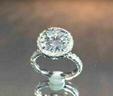 Wedding Ring 14K Real White Gold 3Ct Lovely Round-Cut Moissanite Halo Promise