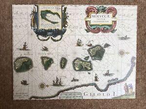DECORATIVE BOOK PLATE PRINT REPRODUCTION MAP MALUKU SPICE ISLANDS INDONESIA 1630