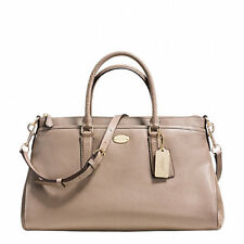 Coach Morgan In Exotic Trim Leather & Suede Style 36125 Beige Stone Satchel
