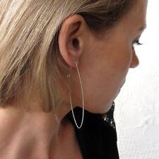 Modern Narrow Hoops - Sterling Silver Geometric Long Earrings - Fashion Jewelry