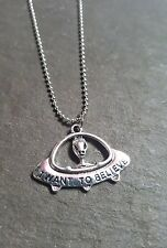 "1 x Tibetan Silver Plated Necklace - ""I Want To Believe"" - Alien - UFO"