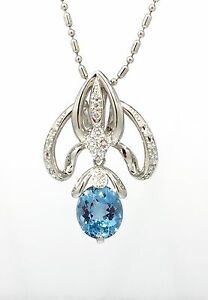 Oval Aquamarine and Diamond Pendant Necklace 24 inch in Platinum  - HM1622AB