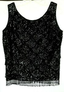 Vintage BLACK BEADED SHELL by Mai Ling, Hong Kong, Woman's Sz. 36 (Med)