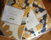 Pottery Barn Kendal Scarf Duvet Cover Set Blue Yellow Queen 2 Standard Shams New