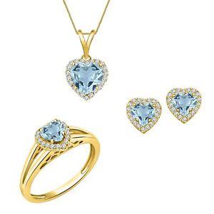 2.60 ctw Heart Shape Aquamarine Wedding Earrings Jewelry Sets 14k Yellow Gold Fn