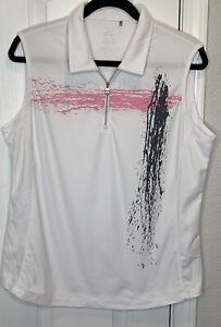 Nivo Golf Women's XL Golf 1/4 Zip WHITE, Gray,& Pink Sleeveless Shirt