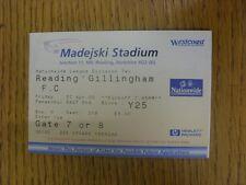 07/04/2000 Ticket: Reading v Gillingham  (slight fold to corner). Thanks for vie