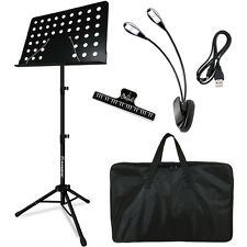 Portable Music Stand Collapsible + LED light + Paper Holder for Music Sheet Book
