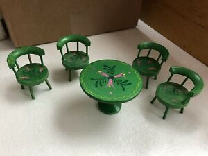 Vintage Small Wooden Table & Chairs  Set - Doll Size - Green w/ Floral Design