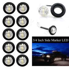 """10X 3/4"""" White LED Clearance Side Marker Lights Truck Trailer Pickup Flush Mount"""