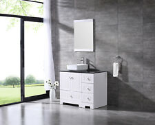 "36"" Bathroom Vanity Single Mdf Cabinet Ceramic Vessel Sink Faucet Combo Set"