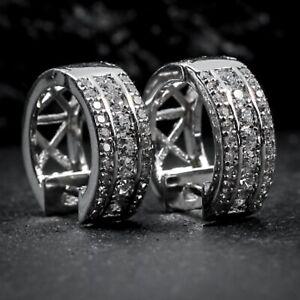 Men's Elegant Iced Cz White Gold Sterling Silver Hip Hop Huggie Hoop Earrings