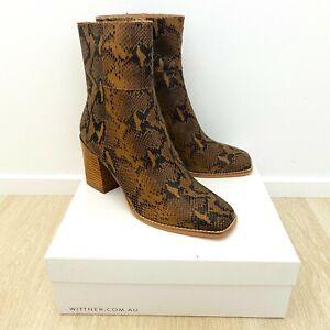 Wittner New In Box Women's Leather Sahara Boots Camel Snake Print EU 41 (10)