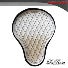 "La Rosa Chopper Bobber Solo Seat - 16"" White Canvas Black Diamond Tuk BaSICK"