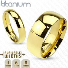4mm Classic Gold IP Solid Titanium Wedding Band Women's Ring