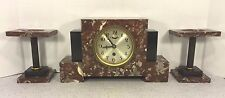 Vintage German Art Deco Clock Set Time Only Runs Marble Case & Garnitures
