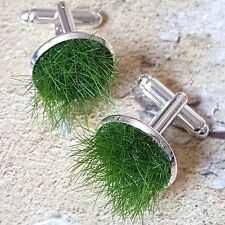Unique GRASS CUFFLINKS chrome LAWN gardener GARDEN handmade 3D nature PITCH