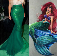 UK Womens Adult Mermaid Tail Full Skirt Fancy Dress Cosplay Costume Skirt 2018