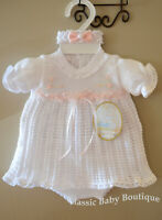 NWT Will'beth White Pink Knit Ribbon Girls Dress 3pc Newborn Headband Bloomers