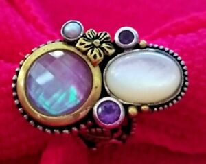 Echo of Dreamer Amethyst, Mother of Pearl - Sterling/Bronze  Ring Sz 7.25